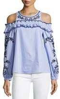 Parker Sammy Cold-Shoulder Striped Eyelet Blouse, Blue