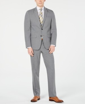 Van Heusen Men's Slim-Fit Flex Stretch Wrinkle-Resistant Gray Sharkskin Suit