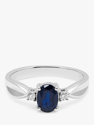 A B Davis 9ct White Gold Oval Sapphire and Diamond Shoulder Ring