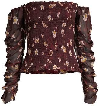 Caroline Constas Gemma Floral Silk Smocked Off-The-Shoulder Blouse