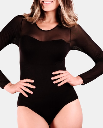 B Free Intimate Apparel - Women's Black Bodysuits - Mesh Sweetheart Neckline Long Sleeve Bodysuit - Size One Size, 6 at The Iconic