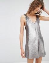 MANGO All Over Sequin Cami Dress