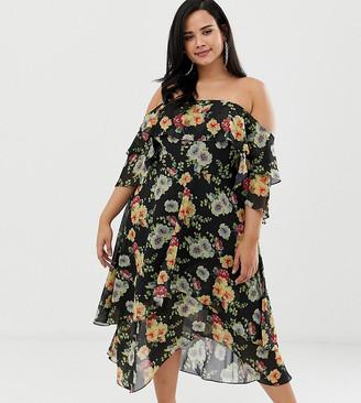 ASOS DESIGN Curve bandeau midi dress in layered floral print