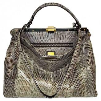 Fendi Peekaboo Green Python Handbags
