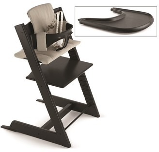 Stokke Tripp Trapp High Chair Complete Black with Timeless Grey and Tray