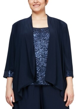 Alex Evenings Plus Size Cascade Ruffle Jacket & Sequinned Tank Top Set