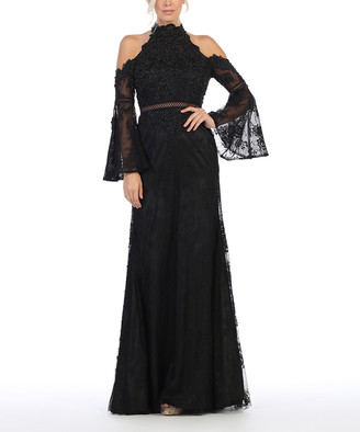 Royal Queen Women's Special Occasion Dresses Black - Black Lace Bell-Sleeve Shoulder-Cutout Gown - Women