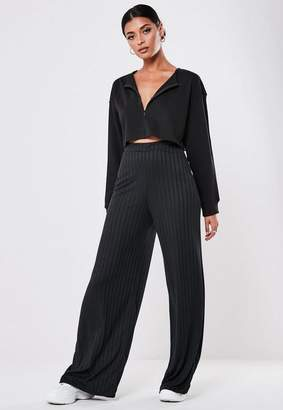 Missguided Tall Black Ribbed Wide Leg Pants