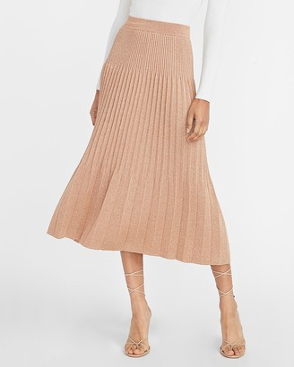Express High Waisted Metallic Pleated Midi Sweater Skirt