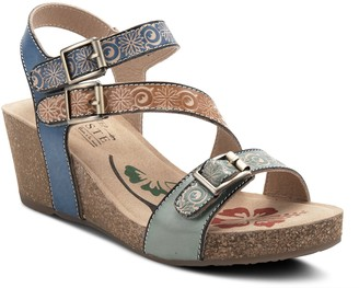Spring Step L'Artiste By Leather Wedge Sandals- Tanja