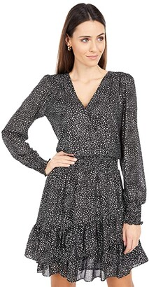 MICHAEL Michael Kors Spaced Galaxy Ruffle Dress (Black/Silver) Women's Clothing