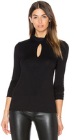 Haute Hippie Long Sleeve Keyhole Turtleneck Top