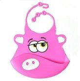 Effwin Feeding Eat Kid Infant Baby Bib Silicone Washable Apron Towel in Cartoon Solid Pattern