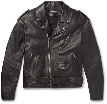 Balenciaga Oversized Printed Leather Biker Jacket