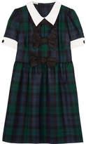 Miu Miu Bow-embellished Tartan Wool Mini Dress - Green