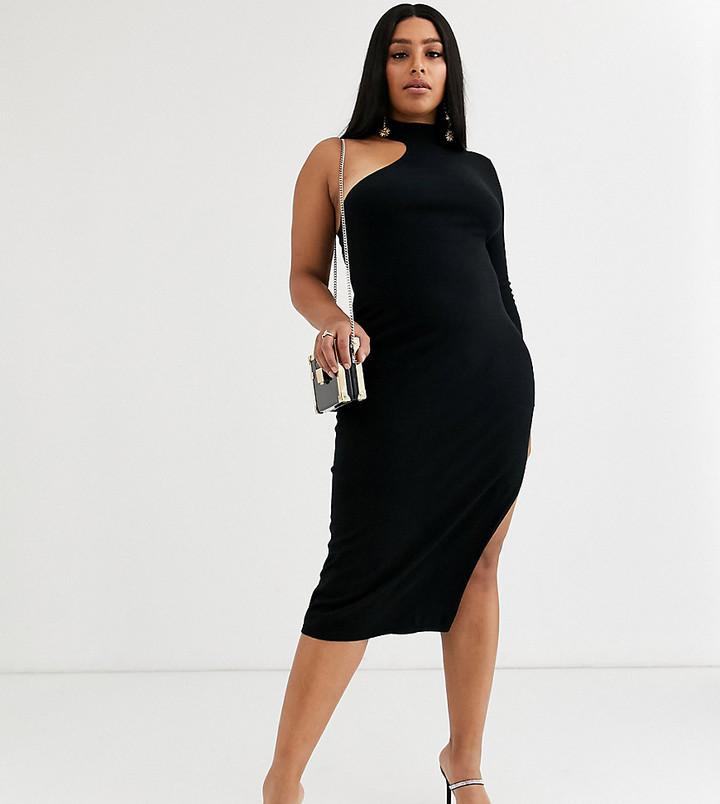 ASOS DESIGN Curve one sleeve knit midi dress