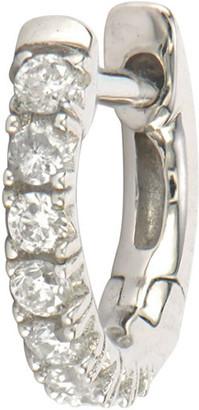 Jude Frances 18k White Gold Petite Pave Diamond Hoop Earring, Single