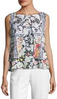 Alberto Makali Floral-Print Popover Top, Orange Pattern