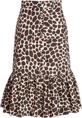 Cara Georgica Printed Cotton-Poplin Midi Skirt