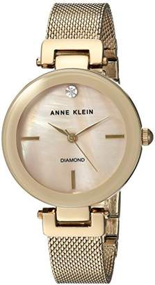Anne Klein Women's AK/2472TMGB Diamond-Accented -Tone Mesh Bracelet Watch