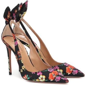 Aquazzura Bow Tie floral pumps