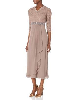 Cachet Women's Lace & Chiffon 3/4 Sleeve Gown