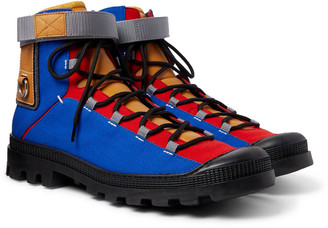 Loewe Eye nature Leather-Trimmed Canvas Boots