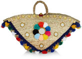 Muzungu Sisters Multi-Coloured Straw Sicilian Pom-Pom Basket