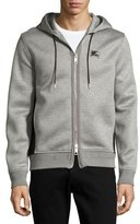 Burberry Dently Mesh-Panel Zip-Front Hoodie, Light Gray