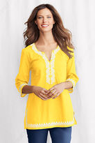 Lands' End Women's Petite 3/4-sleeve Embroidered Splitneck Tunic