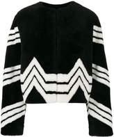 Givenchy Chevron Stripe Faux Fur Jacket