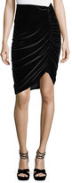 Nanette Lepore Hypnotist Ruched Velvet Pencil Skirt