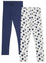 F&F 2 Pack of Star Print and Plain Leggings with As New Technology, Girl's