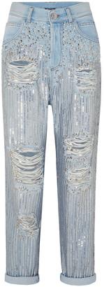 Balmain Embellished Distressed Boyfriend Jeans
