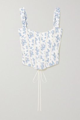 Brock Collection Grosgrain-trimmed Floral-print Cotton-blend Bustier Top - Light blue