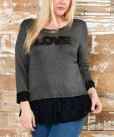 Celeste Charcoal & Black 'LOVE' Ruffle-Lace Tunic - Plus