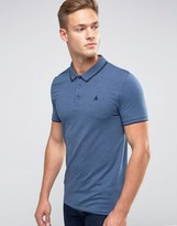 Asos Muscle Pique Polo Shirt With Tipped Collar And Logo In Blue