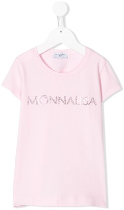 MonnaLisa crystal embellished logo T-shirt