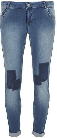 Dorothy Perkins Midwash Patch Harper Skinny Boyfriend Jeans