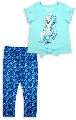 Disney Little Girl's Frozen 2-Piece Graphic Tee & Snowflakes-Print Leggings Set