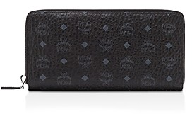 MCM Zip Around Large Leather and Canvas Wallet