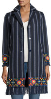 Tory Burch Luna Embellished Woven Topper Coat