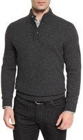 Ermenegildo Zegna Yak Mock-Neck Button Sweater, Charcoal