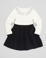 Milly Minis Rhinestone-Collar Dress, Ecru, Sizes 2-6
