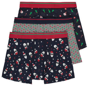 George Christmas Printed A-Front Fly Trunks 3 Pack
