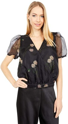 Madewell Short Sleeve Wrap Top in Photo Floral (Photo Floral True Black) Women's Clothing