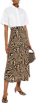 Ganni Floral-print Crepe Midi Skirt