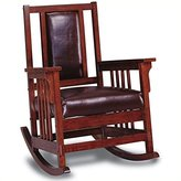 Coaster Home Furnishings Coaster Mission Style Rocking Wood And Leather Chair Rocker