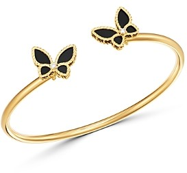Roberto Coin 18K Yellow Gold Onyx & Diamond Butterfly Bangle Bracelet - 100% Exclusive