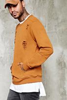 Forever 21 FOREVER 21+ Distressed Pocket Sweatshirt